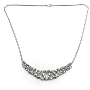 925 Sterling Silver Real Diamond Heart Necklace